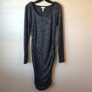 Leith black/gray ruched dress size M